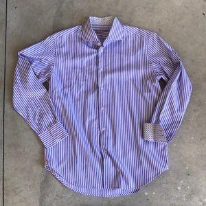 Robert Graham striped dress shirt large contrast